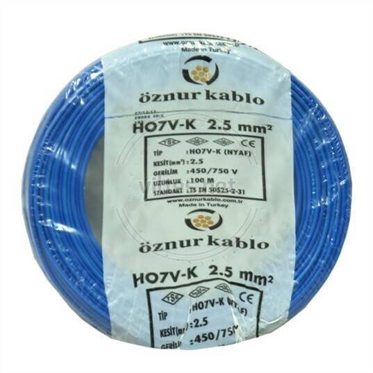 Öznur 2,5 mm NYAF Kablo Mavi (1 metre)