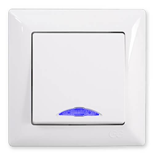 Günsan Visage Beyaz Işıklı Light Anahtar - Çerçevesiz