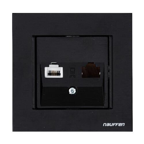 Nauffen Koyu Siyah Nümeris Telefon Prizi RJ 11 - ÇERÇEVESİZ